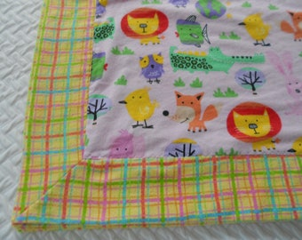 Baby Blanket, Receiving Blanket, Baby Animals,  Bordered Flannel Blanket, Pink Plaid Blanket, New Baby Gift, Baby Shower Gift,
