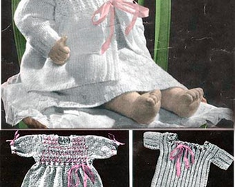 "Vintage 5 Piece Smocked Knitting Pattern for 18"" Dolls Preemies Infants"