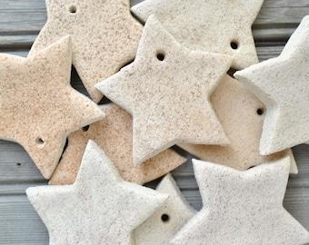 "Unfinished DIY Cinnamon Mini Salt Dough Stars 2 1/4"" Wholesale Set of 10 Star Ornaments"
