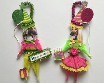 Afghan Hound BIRTHDAY ornaments DOG ornaments vintage style chenille ORNAMENTS set of 2