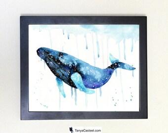 Humpback Whale Spirit Animal Art Print Watercolor 8x10