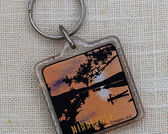 Vintage Minnesota Keychain Canoe Orange Black Sunset Lake Key FOB Key Chain 7PP