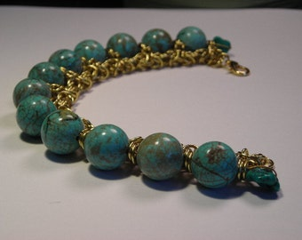 Turquoise bead and chips with Byzantine Crown Gold Chain