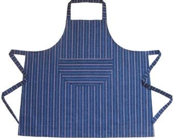 Womens Stripe Denim Apron. For Artists & Makers. Extra Wide. No5.