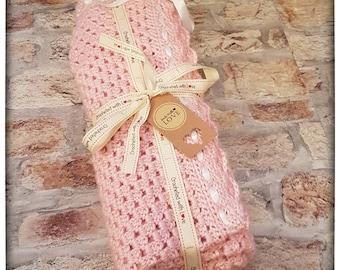 Granny Square Crochet pram blanket with ribbon edging