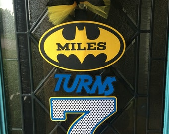 Batman Inspired Personalized Birthday Door Sign - Welcome your guests with style!