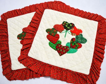 """Two hand quilted 20"""" Christmas throw pillow cover with heart appliquéd wreaths"""