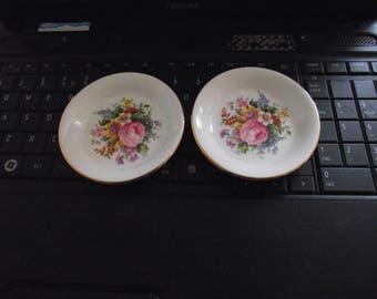 Pair of Royal Albert bone china pin trays. Pink rose narcissus etc.