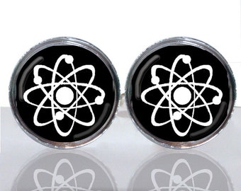 Round Glass Tile Cuff Links - Atomic Symbol Geek Wear CIR113
