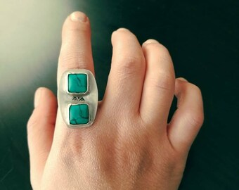 Turquoise statement ring, size 7
