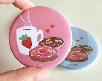 Pink - For the love of Donuts! Badge - 57mm Large Pin 2.25 inch - Illustration - Pinback Button