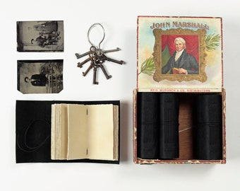 Black Leather Journal Box Set - Matching Books in John Marshall Antique Cigar Box