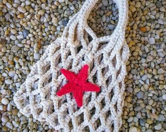 Cotton Yarn Bag. Mesh bag. Crochet Chunky Bag. Market Bag. Beach Bag. Everyday Use Bag. Red Star. Stylish Bag. Off-White Bag