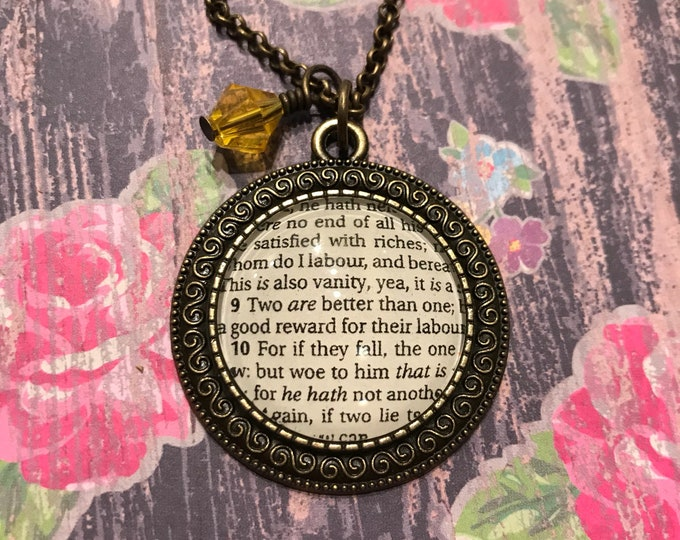 Two are better than one Bible page necklace