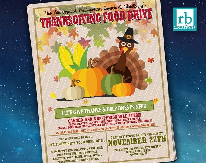 Event Flyer, Food Drive Flyer, Thanksgiving Flyer, Autumn flyer, School Flyer Design, Church Flyer Design, Flyer Design - Digital Printables
