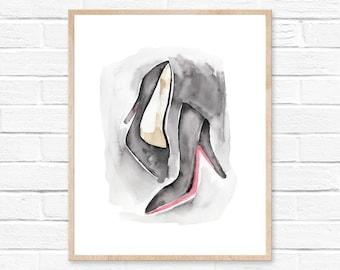 Watercolor Shoes Print, High Heel Fashion Print, Christian Louboutin Shoes, Watercolor Print, Fashion Wall Decor, Bedroom Bathroom Wall Art