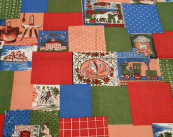 Vintage 1970's, heavy weight cotton fabric, for pillows, cushions, Early American, home dec fabric