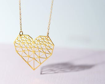 Geometric Heart necklace, 's gold plated heart necklace, origami heart necklace, i love you necklace, gift for her, womens jewelry