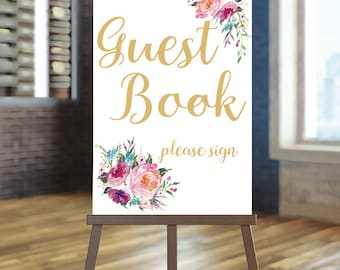 Printable wedding guest book sign, Coral and gold guest book sign, Boho guest book sign, Floral sign download, Gold guest book sign, Laura