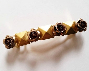 Brown Flower Gold Metal Studded French Barrette, for weddings, parties, special occasions