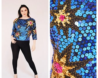 Vtg. Sequin Explosion Shirt- Blue, NYE, New Year, M/L, 42, Neon Sequin Shirt, 80s