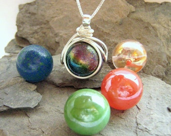 The POP in Interchangeable Nebula Necklace Marble Set - Ready to Ship Player Whopper swirl Galaxy gift for Marble collector Geekery Rickson
