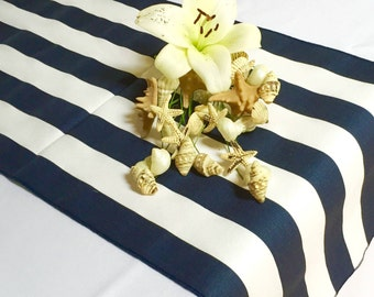 Navy Blue And White Striped Table Runner   Navy Blue Edges   Select A Size