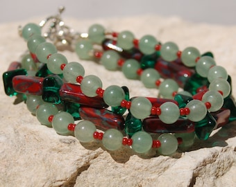Red Czech Glass with Jade Multistrand Bracelet and Earrings.....no 5565