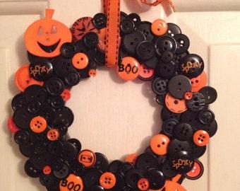 Halloween Pumpkin Button wreath