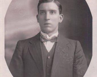 A young man Posing ~ Vintage Black & White Photograph Postcards ~ Blank~ #2