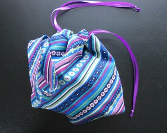 Small Project Bag Wristlet for Sock Knitting, Crochet, and Needlework - Retro stripes