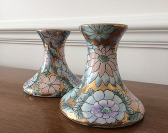 Vintage Pair of Toyo Candlestick Holders with Floral and Gold Cloisonne Design