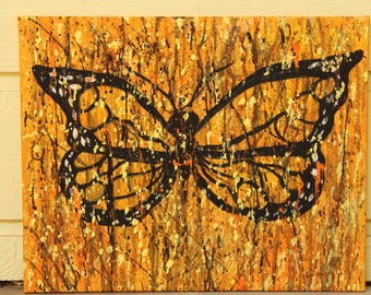 Original Painting-monarch butterfly-abstract-expressionism-splash-wall art-nature-acrylic
