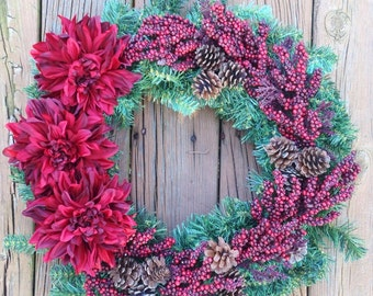 Holiday Wreath, Christmas Wreath, Holiday Door Wreath, Christmas Door Wreath, Holiday Berry Wreath, Holiday Decor, Christmas Decor
