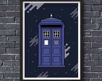 Doctor Who Tardis Poster, Doctor Who Wall Art, TV Print, Fan Wall Art