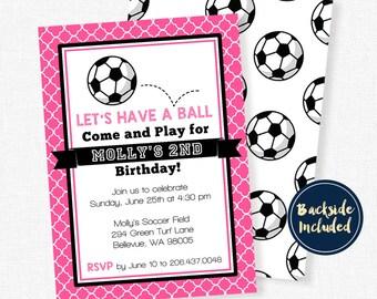 Soccer Party Invitation, Soccer Birthday Invitation, Soccer Girl Party, Sports Invitation, Pink