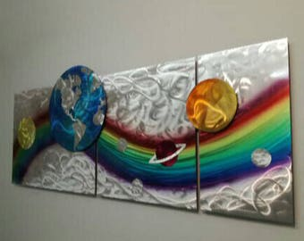 Large Modern Metal Wall Sculpture, Contemporary Wall Sculpture, Rainbow Metal Wall Art, Modern Home Decor, Abstract Metal Wall Sculpture,