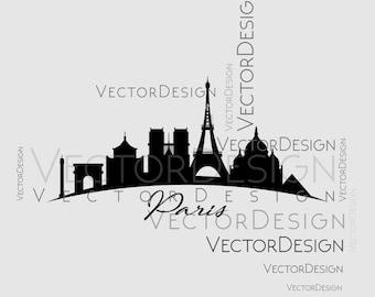 Paris Skyline V2 Graphics SVG Dxf EPS Png Cdr Ai Pdf Vector Art Clipart Instant Download