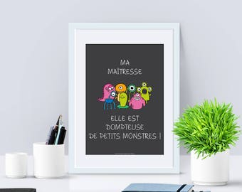A4 - Poster Printed - Gift of end of year - teacher schoolmaster