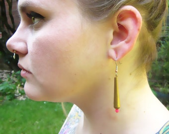 Brass Teardrop with Neon Pop Earrings
