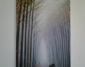 Original Oil Painting Autumn Landscape Large Wall Colorful Art Falling leaves Long walks Textured Artwork *Misty Autumn*