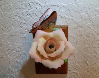 Sculpted Fine Porcelain Pink Peace Rose and Butterfly Night Light by Cosmos Gifts 2127