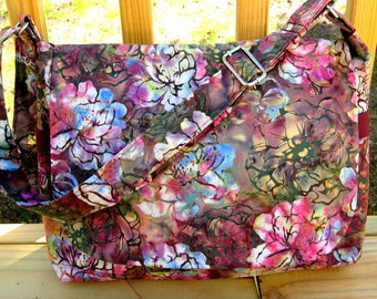 CROSS BODY BAG, Messenger Bag, Batik Fabric, Handbags, Purses, Tote Bags, Diaper Bags,Made To Order