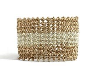 Gold and Silver Wide Bracelet - Beadwork Jewelry - Seed Bead Boho Bracelet - Beaded Cuff Bracelet - Beadweaving Jewelry