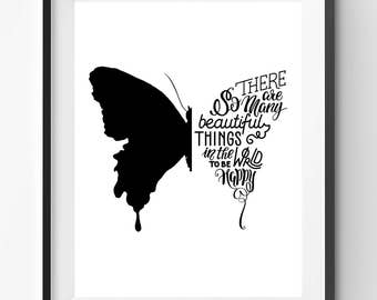 There Are So Many Beautiful Things, Handlettering Print, Black Typography, Cursive Quote, Butterfly Poster, Motivation Art, Joy Quote Print