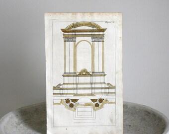 Antique Architectural Print c. 1711 Andrea Pozzo Hand Colored Engraving 7 1/2 x 12 1/2 inches