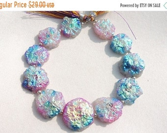 Summer Sale 10 Pcs Outrageous Natural Blue Titanium Coated Druzy Round Beads Size 23 - 18 MM