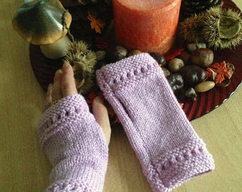 CLEARANCE - Short semi-ajourees hand knit fingerless gloves pink