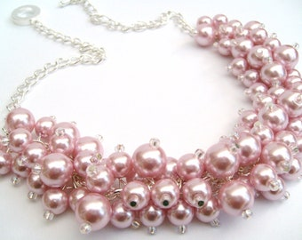 Pearl Beaded Necklace, Bridal Jewelry, Cluster Necklace, Chunky Necklace, Bridesmaid Gift, Custom Colours - Pink  Pearls