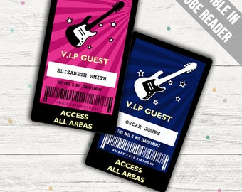 Rock Star Party VIP Pass (Rockstar VIP badge). Editable PDFs. Instant Download.